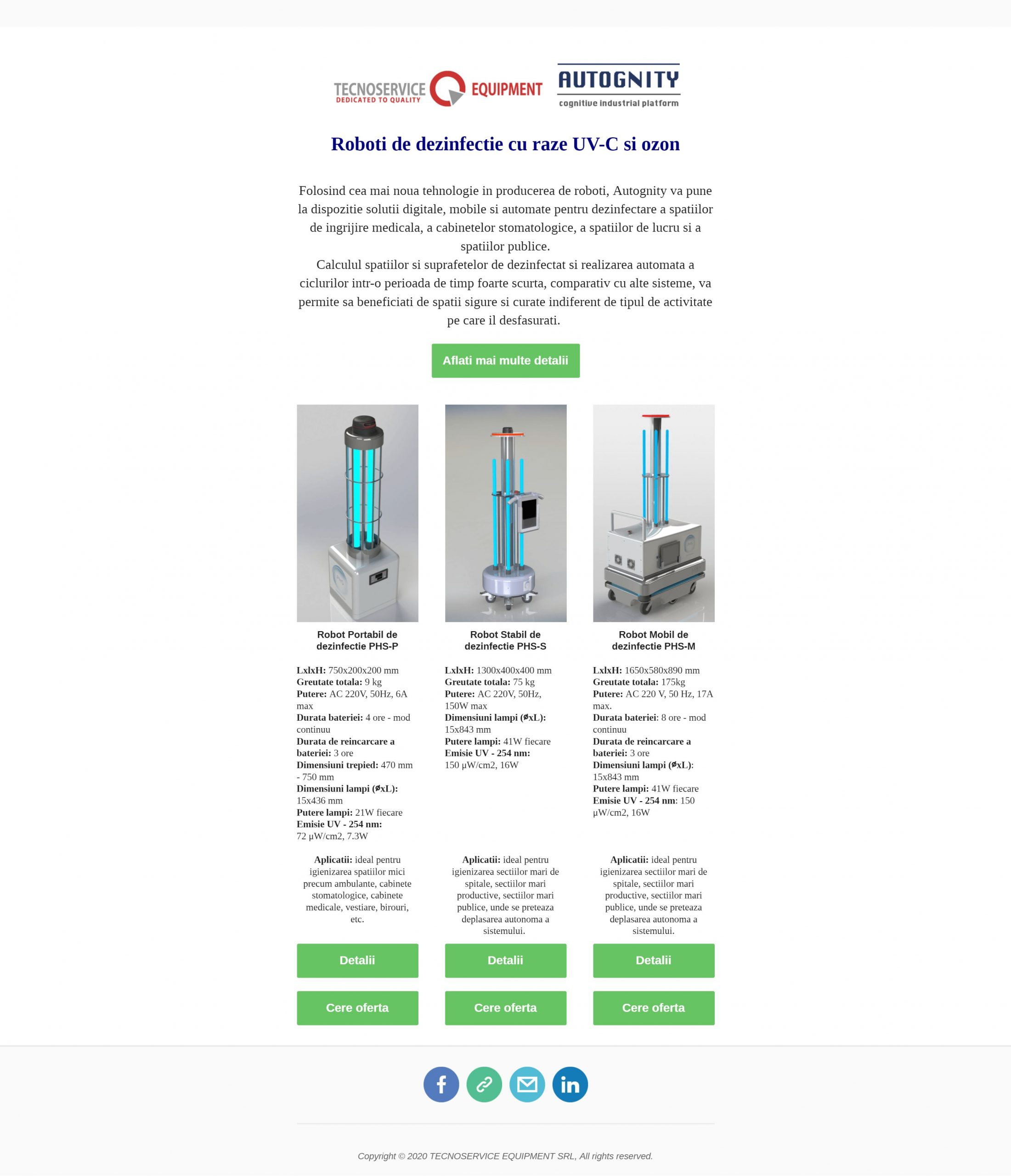 Roboti dezinfectie UV-C UVGI raze ultraviolete ozon spitale dezinfectare coronavirus covid sars tecnoservice romania phs lampa uv lampi