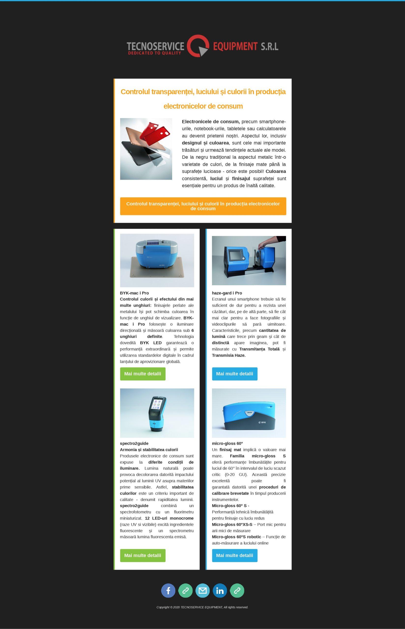 Controlul transparentei, luciului si culorii in productia electronicelor de consum