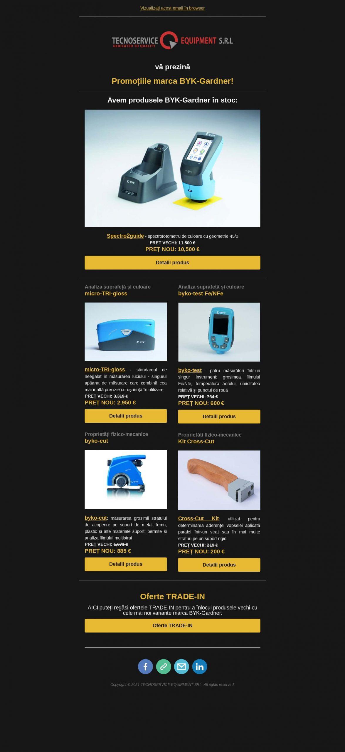 Promotii articole BYK avem in stoc masurare culoare luciu suprafete proprietati fizico-mecanice instrumente